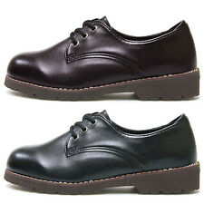New Classic Stylish Womens Flats Oxfords Lace Up Low Heels Shoes