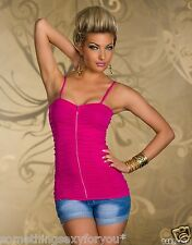 STUNNING CLOSE FITTED TOP WITH FULL ZIP AT THE FRONT AND RHINESTONES. S/M.