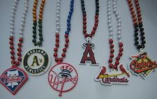 MLB Baseball Mardi Gras Sport Beads With Medallion Necklace - Pick Team