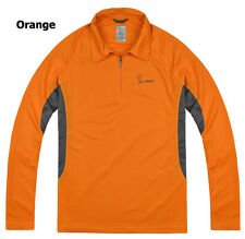 Men Cool Breathable Hiking Golfing Zip Pullover Long Sleeve T-Shirt Shirts New