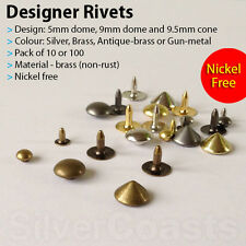 Dome Cone Rivets Fasteners Studs Button Sewing Leather craft Bag Jeans 5, 9mm