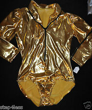 Nwt Double Platinum-Adult size XLarge- Gold GaGa 3/4 Sleeve-LEOTARD-item #N7032