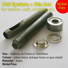 100 Eyelets + Punch Die Tool Set Leather Craft Sewing Clothing Grommet, 4 6 10mm