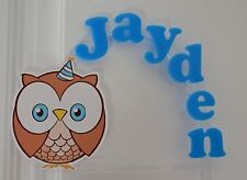Cute Boy Blue Owl PERSONALIZED cake topper or ANY character Cake Decoration