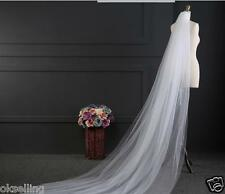 2 Layer Cathedral Length 3M veil white ivory wedding bride mantilla yashmak veil