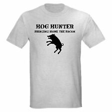 HOG HUNTER bringing bacon hunting wild feral hog pig pork T-SHIRT