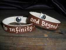 To Infinity...and Beyond...chocolate genuine leather engraved bracelets unisex
