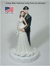 Army Blue Enlisted w/ Beret Military Bride Groom Wedding Caketop 49ABEB2