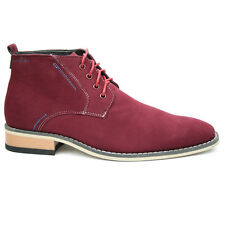 Mens Red Desert Boots, Casual Ankle Shoes, EU UK 6 - 12 FREE HEADPHONES NEW