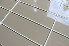 "Beach Brown 4"" x 12"" Glass Subway Tiles for Kitchen Backsplash and Bathrooms"