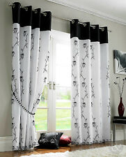 Rose Lined Voile Panels - Black & White Eyelet Ring Top Ready Made Curtains
