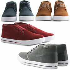 NEW MENS STYLISH CASUAL MID TOP FAUX SUEDE TRAINERS SNEAKERS LACE UP SKATE SHOES