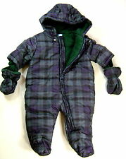 The CHILDREN'S PLACE Boys 2-PC Green Snowsuit Coverall Hood Mitten 3-6M 6-9M NWT