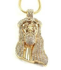 """Hip Hop New ICED OUT JESUS FACE Pendant with 30"""" Franco Chain 14k Gold Plated"""