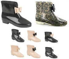 WOMENS LADIES BOW ANKLE SHORT WELLIES WELLINGTON DIAMANTE RAIN SNOW BOOTS