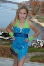 Lime and turquoise sequined & beaded competition dance costume CM, CL, CXL