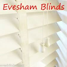 MADE TO MEASURE 50MM CREAM VENETIAN WOODEN BLIND WITH TAPES REAL WOOD