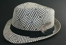 BLACK & WHITE STRAW TRILBY HAT, with feather band , Small medium to large avail
