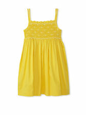 Rachel Riley Girls Smocked 2-Tone Cotton Summer Sundress Yellow Dress, 3 Y