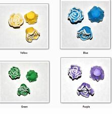 10 FIMO POLYMER CLAY FLOWER JEWELLERY CRAFT BEADS 15MM - VARIOUS COLOURS