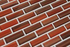Autumn Red, Orange, Brown Hand Painted Glass Mosaic Subway Tiles - Backsplash