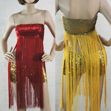Belly Dance Glittering Sparkling Sequin Stretch Hot Pant Shorts/Long Fringe Top