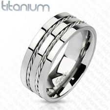 Men Solid Titanium Double Line Rope Twist Inlay Band Ring