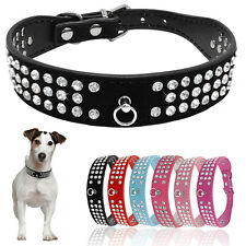 """(6 Colors) 8-18.5"""" Suede Leather3 Rows Rhinestone Bling Pet Dog Collar XS S M L"""