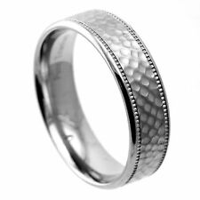 Hammered Finish Center Pure Titanium Wedding Band Ring w Polished Grooved Etches