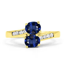 Ladies 18ct Yellow Gold Blue Sapphire & Diamond Crossover Ring - All Sizes
