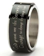 Serenity Prayer Black Spinner Ring Stainless Steel Size 6-12 AA Cross 12 Step