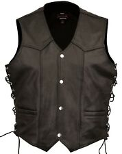 Mens Leather Fashion Vest Waistcoat Laced Sides Motorcycle Cruiser Top Vintage