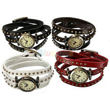 Retro Rivet Weave Leather Strap Alloy Dial Clock Quartz Bracelet Wristwatch B32U