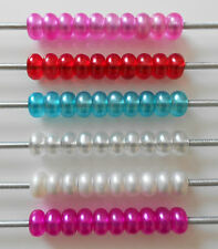 10 FROSTED ACRYLIC SPACER CHARM BEADS FIT EUROPEAN BRACELET RED PINKS BLUE WHITE