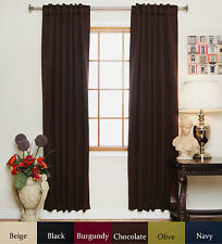 Rod Pocket Thermal Insulated Blackout Curtain 84 Inch Length Pair