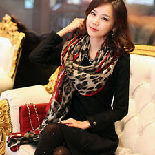 Fashion Leopard Long Wrap Scarf Shawl Ladies Gauze Stole Heart Pattern Georgette