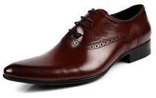 New men's real leather dress shoes Formal Lace Up For Work Office/Wedding Brown