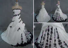White And Black Embroidery Bridal Wedding Dress  Size Custom
