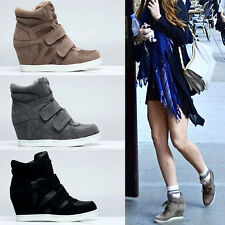 Womens Wedge Suede High Tops Sneakers Lady fashion Hi Top Trainers Ankle Boots