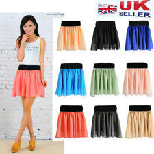 NEW WOMEN LADIES ELASTIC WAIST BAND PLEATED CHIFFON SUMMER MINI SKIRT--UK Seller