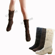 Women's Shoes Lace Cowboy Mid-Calf Boots Wedge Low Heels US All Size YB928