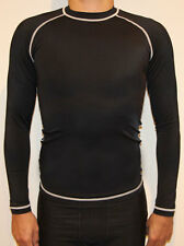 MENS BLACK COMPRESSION LONG SLEEVE GYM SPORTS TRAINING RUNNING MUSCLE TEE TOP