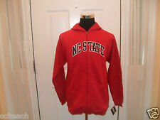 New Youth (All Sizes) North Carolina State Red Full Zipper Hooded Sweatshirt