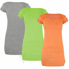 Ladies Womens Casual T Shirt  Pocket Front Ruched Jersey Plain Long Top Vest