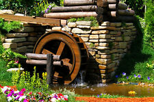 Canvas Giclee Home Prints Water Wheel Flowers Stones Photo Print Colorful Art