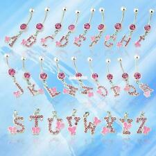 RHINESTONE INITIAL LETTER DANGLING PENDANT BARBELL NAVEL BUTTON BELLY RING BAR