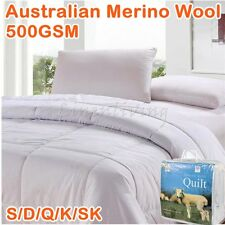500GSM Winter Weight Australian Merino Wool Quilt Doona Duvet 300TC Cotton Cover