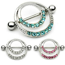 Pair of Romantic Style Nipple Shield Double Hoops & Pave Gems