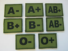 BLOOD GROUP PATCHES IN OLIVE GREEN WITH VELCRO BACKING