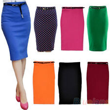Fashion Women High Waisted Belted Stretch Bodycon Knee Length Pencil Skirt BH3U